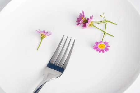 Fork and daisy in a white plate. Stock Photo