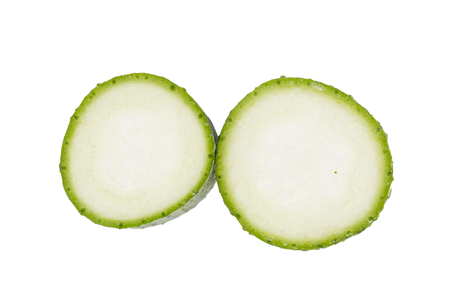 Top view of fresh sliced loofah isolated on the white background.