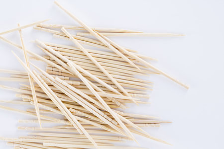 A close-up shot of toothpicks isolated on the white background.