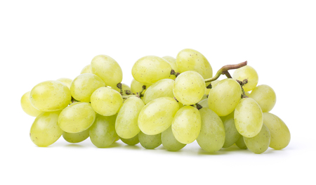 Fresh green grapes on the white background. Stock Photo