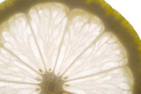 Single fresh lemon slice closeup.