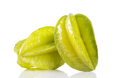 carambola (also known as starfruit) on a white background.