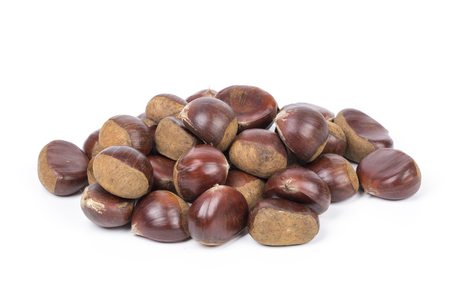 Closeup of chestnuts on the white background