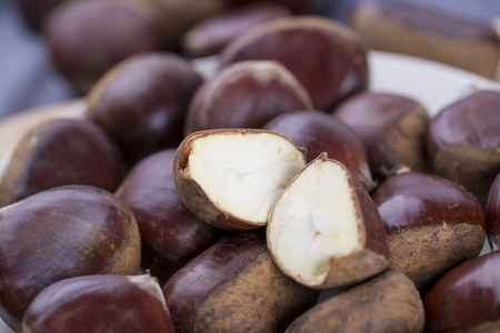 Closeup of chestnuts on table Stock Photo