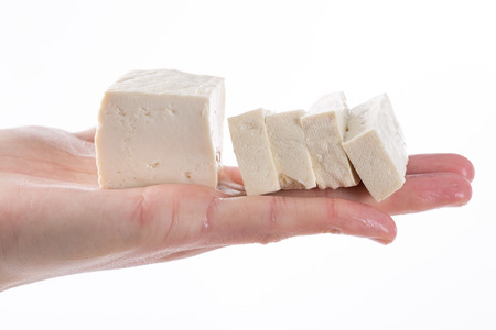 Tofu on the chefs hands Stock fotó
