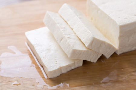 Fresh tofu on the board Stock fotó
