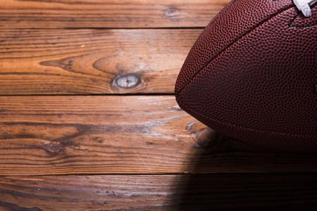 An American football on table