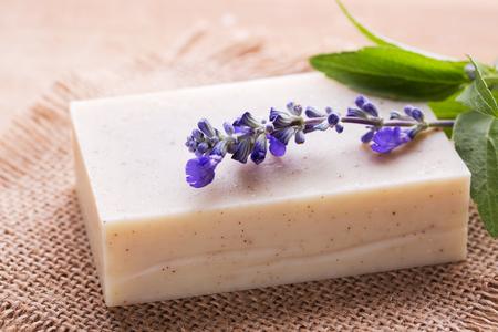 Handmade soap and fresh lavender