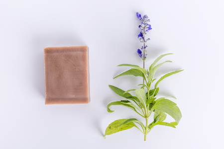 Handmade soap with lavender flowers on white background