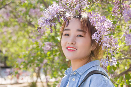 Beautiful woman with flower 写真素材