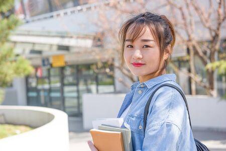 Portrait of Asian college student at campus Standard-Bild