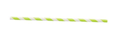 Green and white striped paper straw on white background Stock Photo