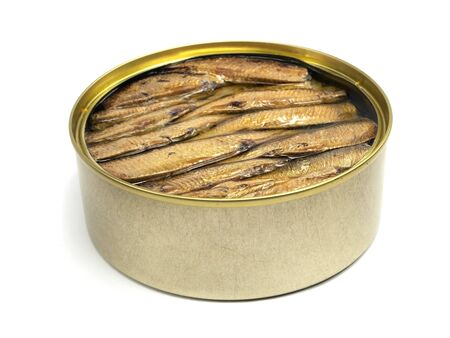 Sprat fish canned on a white background      photo
