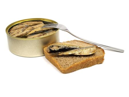 sprats: Sprat fish canned on a white background