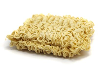 block of Instant noodles on a white background  photo