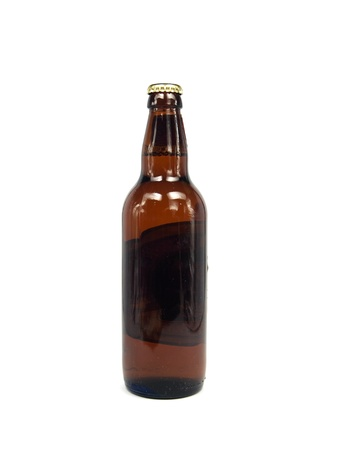 adjuvant: beer in brown bottle on a white background