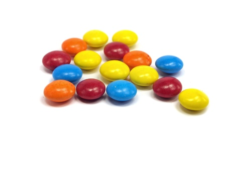 dragee: colorful chewy dragees on a white background