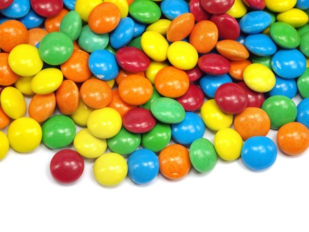 chewy: colorful chewy dragees on a white background