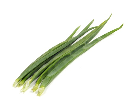 vegetable cook: Green onion on a white background   Stock Photo