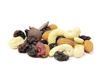 mixed nuts with raisins on a white background Stock Photo - 11220520