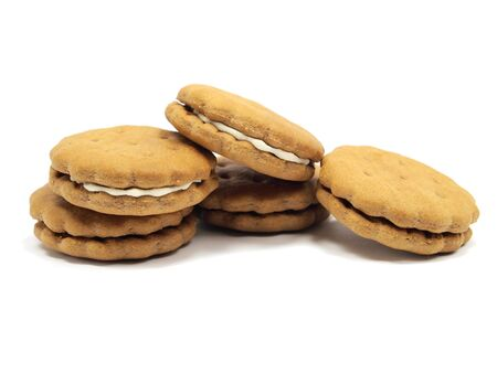 sandwitch: Chocolate sandwitch biscuits with cream filling on a white background
