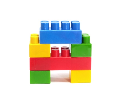 plastic building blocks letter A on a white background           photo