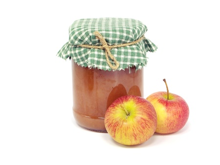 home made apple jam on a white background photo