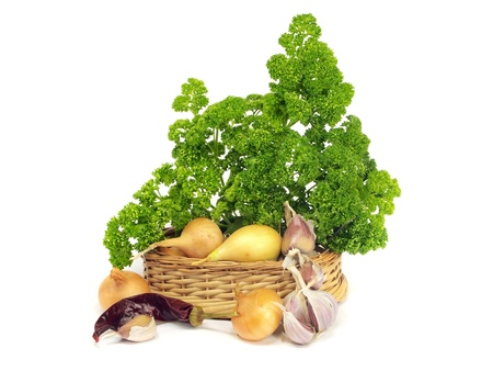 garlic, onion and parsley on a white background   photo