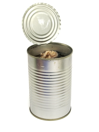 canned fish in oil on a white background     photo