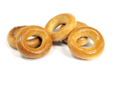 boublik: Ring bagels on a white background