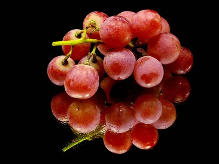 bunch of red grapes on a black background with water drops    photo