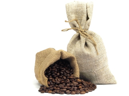 gunny bag: Coffee beans roasted in sack on a white background