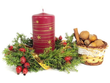 christmas still life on a white background   photo