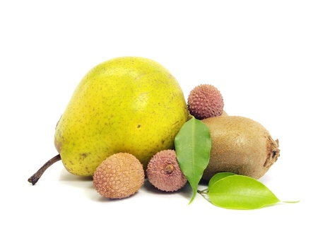 hairy pear: pear, kiwi and lychees on a white background