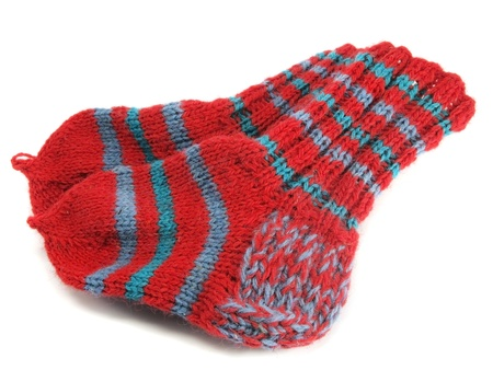 homemade wool socks on a white background     photo