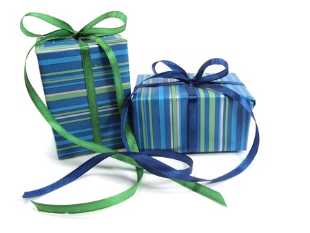 gift wrap: gift boxes decorated with ribbon on a white background