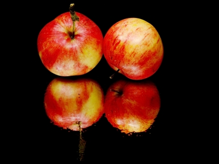 red organic apple on a black background with water drops     photo