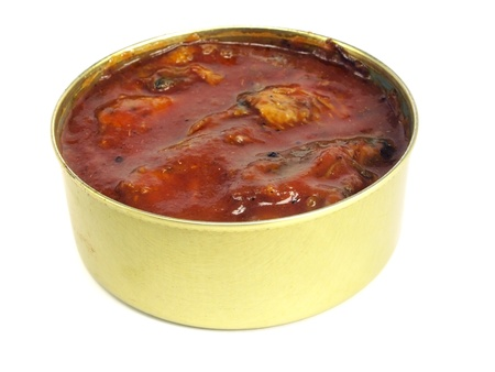 sprat: canned fish in tomato sauce on a white background