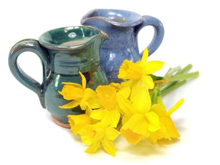 Yellow narcissus and ceramic jug on a white background       photo