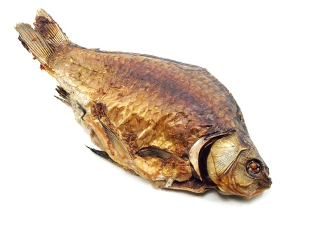 fresh water smelt: fried crucian carp on a white background