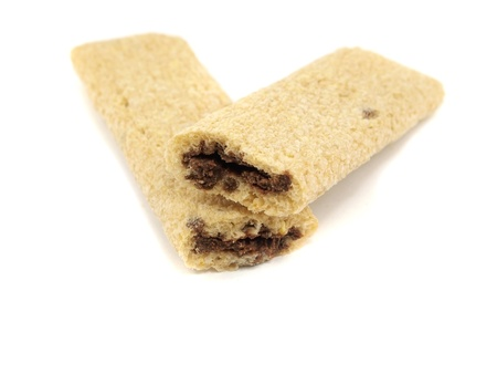 teaparty: Cookies with a chocolate stuffing on a white background