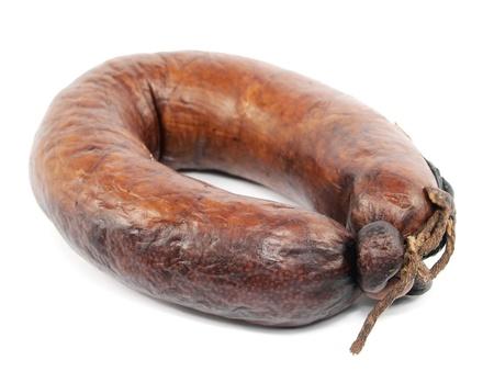 smoked sausage on a white background Stock Photo - 13665481