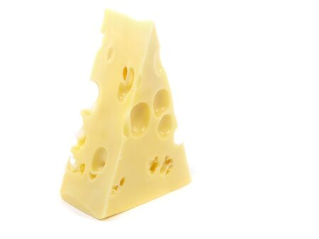 Piece of Emmentaler cheese on a white background   photo