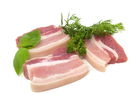 Pork belly with herbs spices on a white background Stock Photo - 14680404