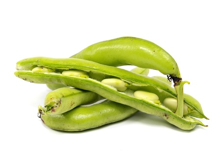haba: broad beans on a white background