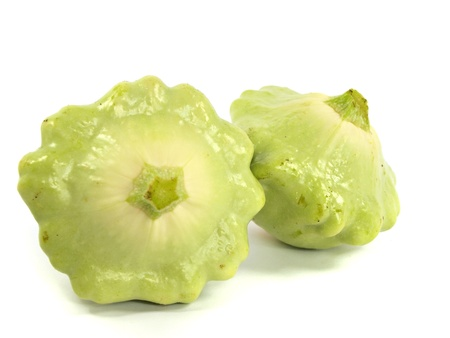 Scalloped Squash Pattypan on a white backgroung       Stock Photo