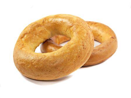 boublik: big ring bagels on a white background