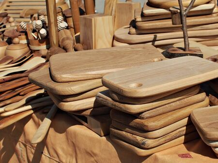 various kinds of wooden kitchen tools photo