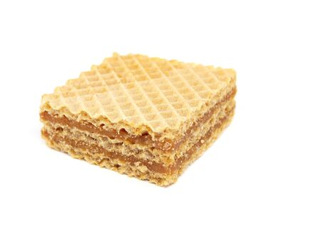 waffle with caramelized condensed milk on a white background        photo
