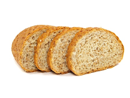 Healthy bran bread on a white background        Stock Photo - 15836507